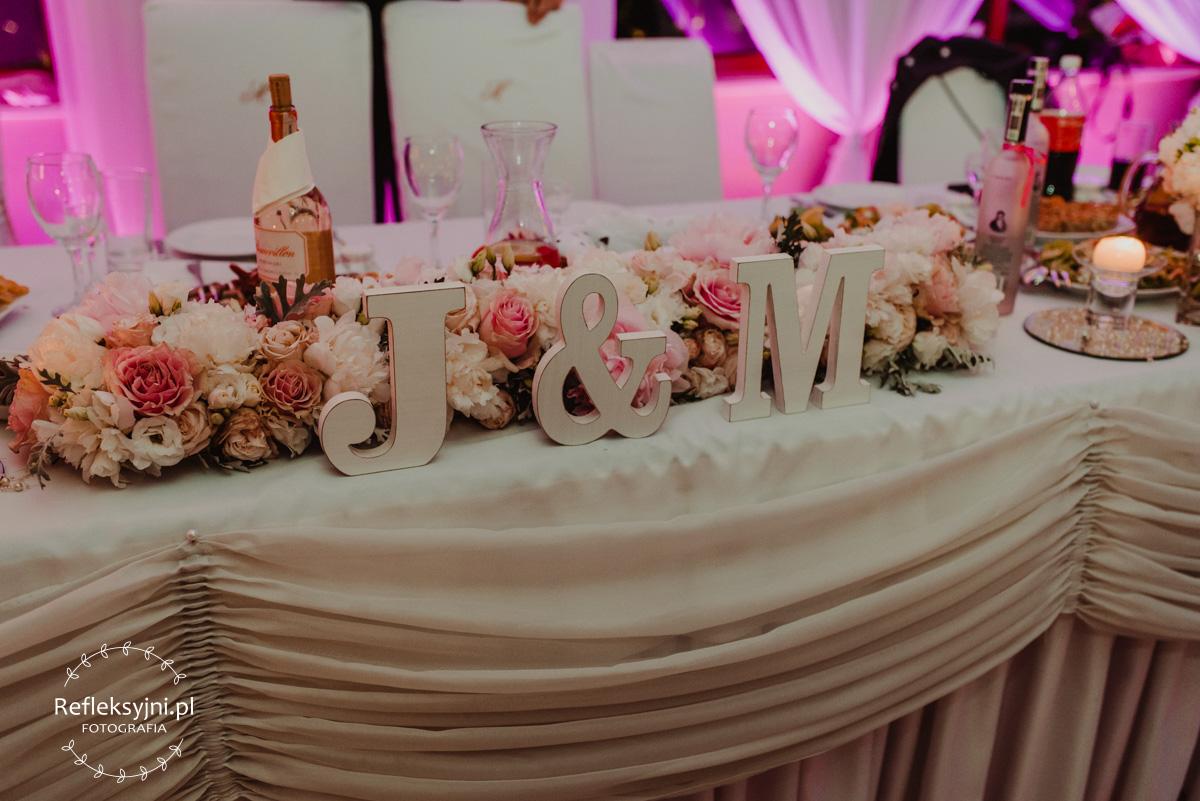 Dodatki ślubne napis J&M