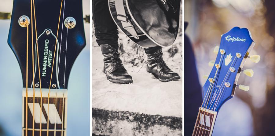 Trzy zdjęcia mężczyzny i gitary