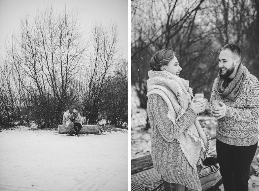 Kobieta i mężczyzna sesja zimowa na śniegu plaża nad Wisłą