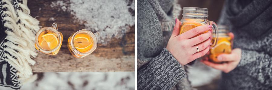 Kubek z herbatą i pomarańczą