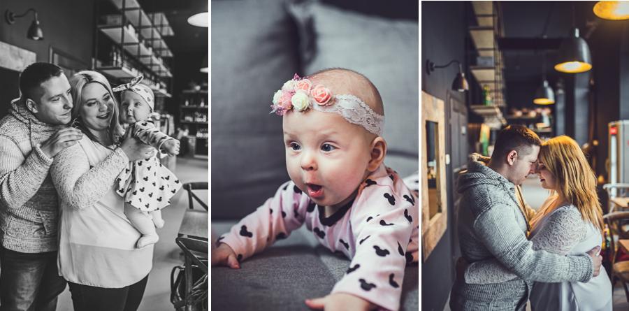 Trzy zdjęcia rodziców z córką