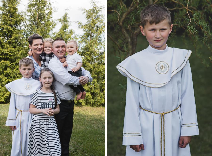Zdjęcie chłopca w albie i zdjęcie grupowe