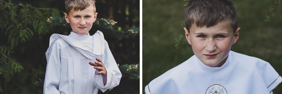 Dwa zdjęcia chłopca w albie