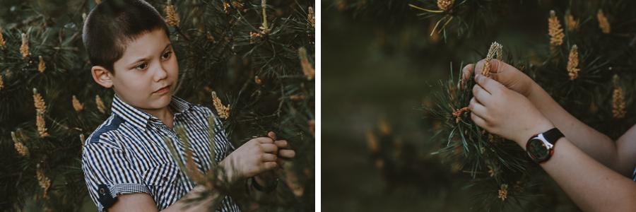 Chłopiec bawiący się szyszkami w lesie