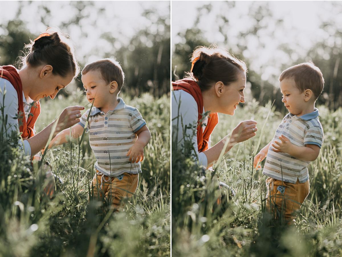 Mama z synem na polanie
