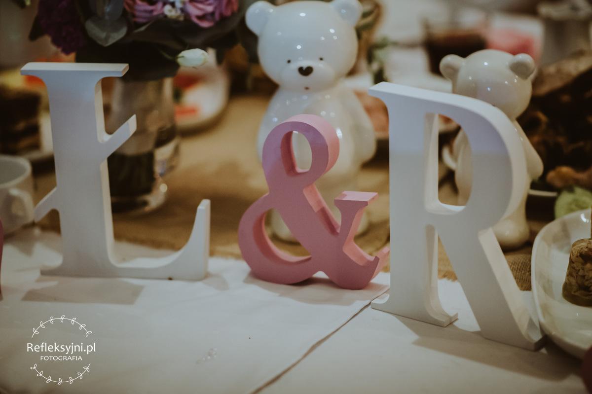 Ozdoby ślubne napis Ł & R