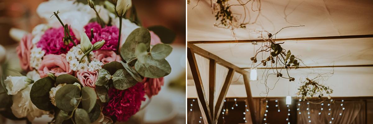 Rustykalne dekoracje ślubne kwiaty na sali