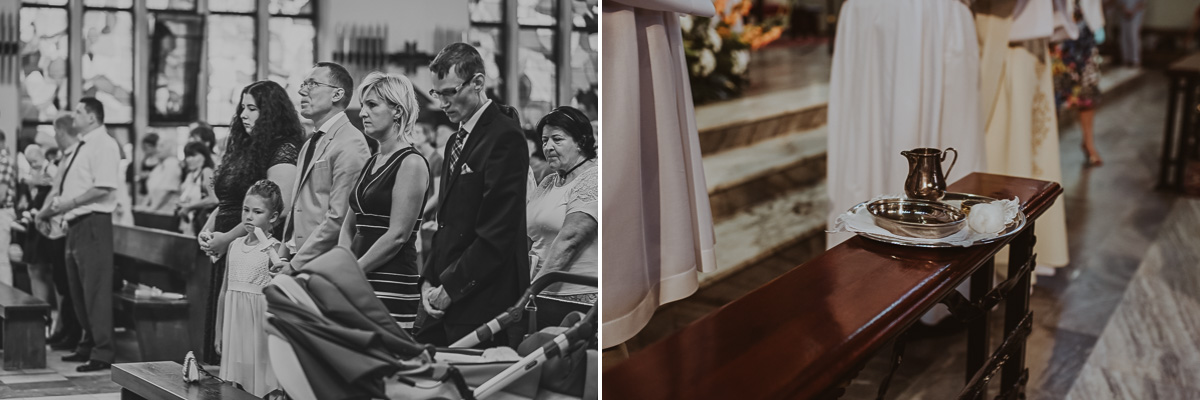 Dwa zdjęcia na jednym ludzie na drugim chrzcielnica