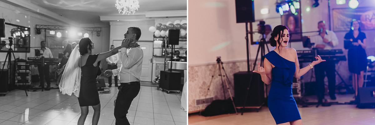 Tańczący goście na weselnych oczepinach