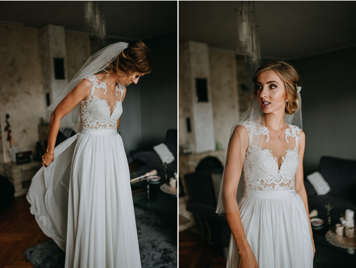 Pani Młoda poprawia suknię