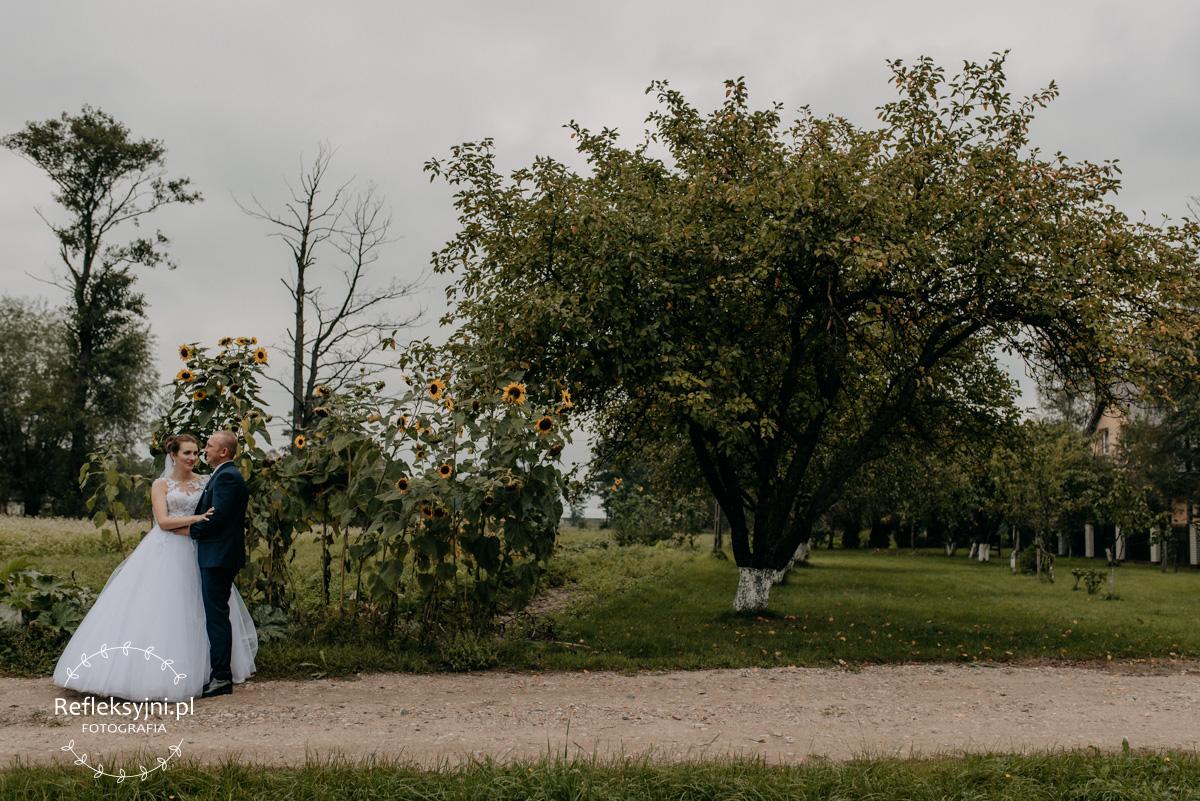 Sesja ślubna plenerowa sad