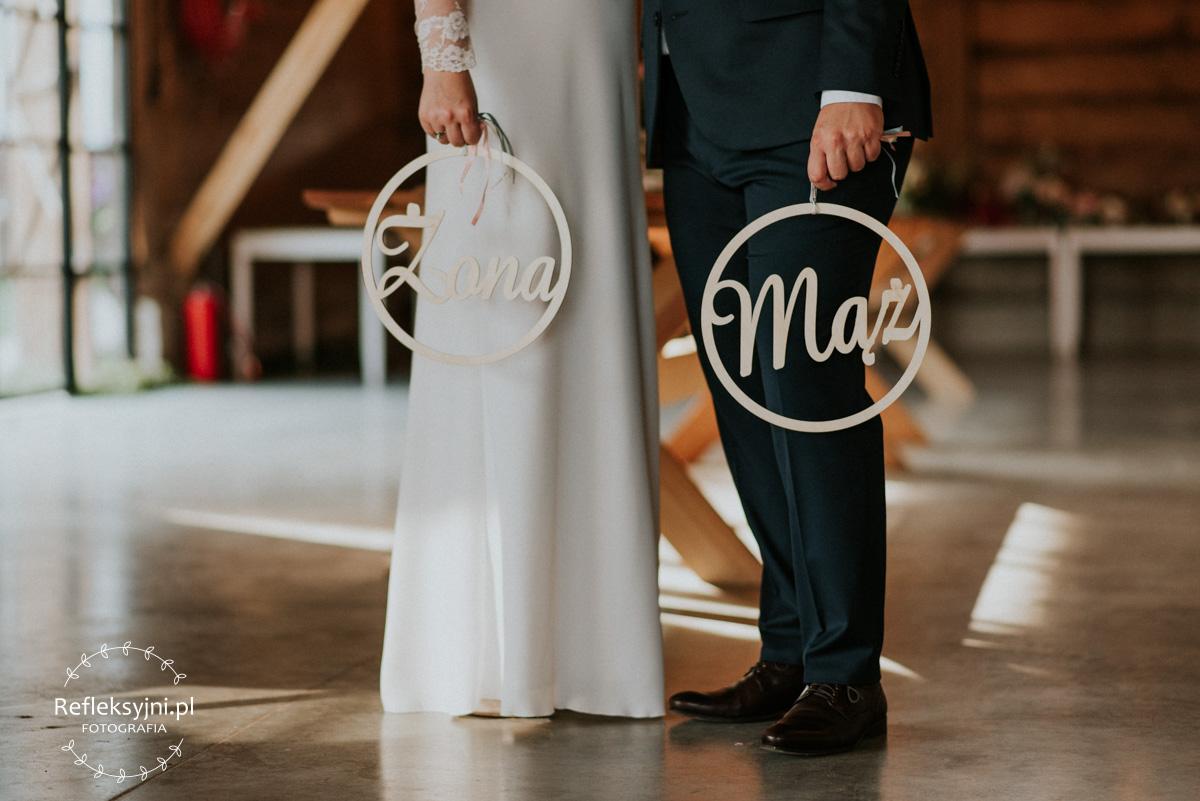 Dekoracje ślubne drewniany napis mąż i żona