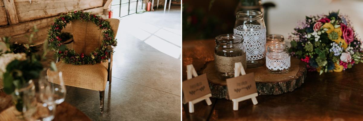 Rustykalne słoiczki i wieniec ślubny