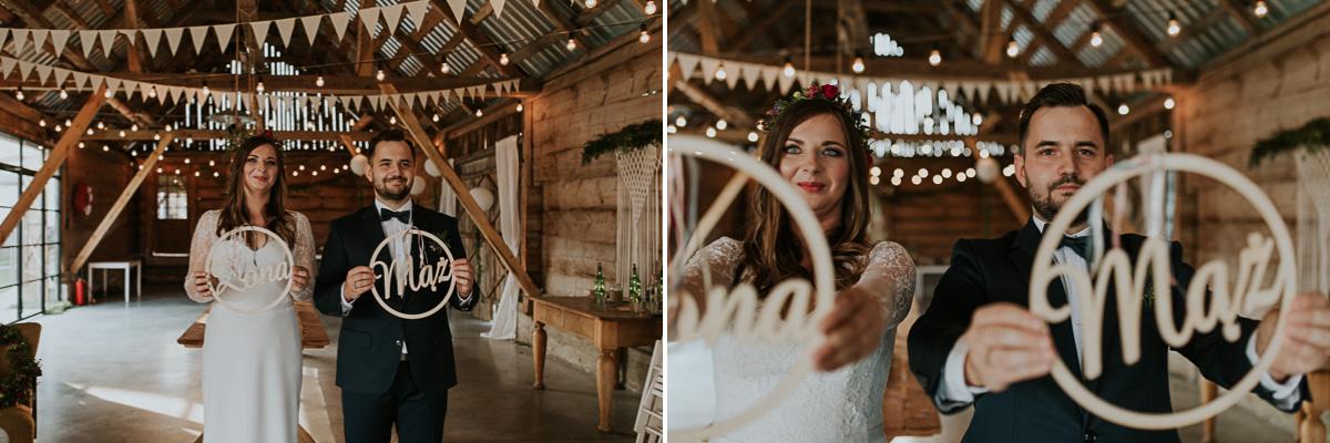 Dekorazje ślubne drewniany napis mąż i żona