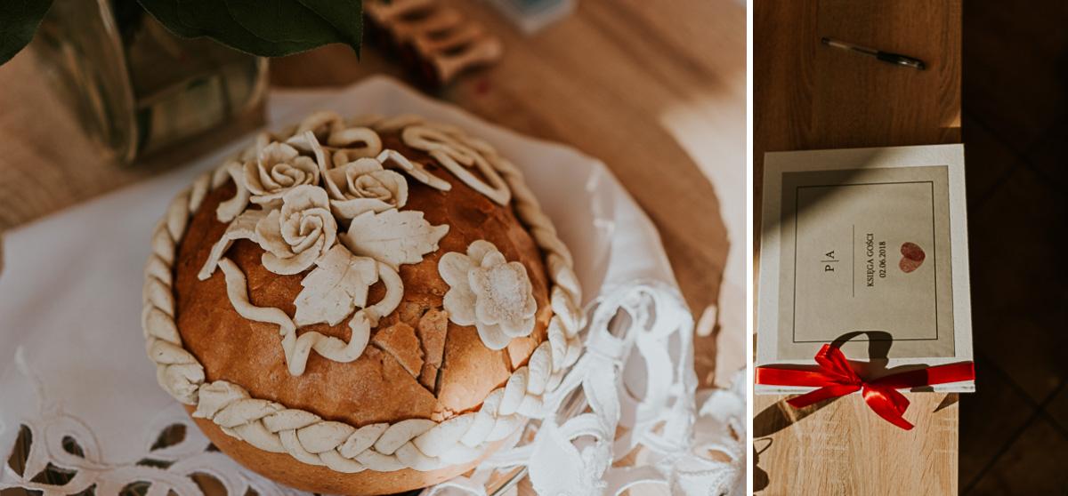 Chleb ślubny oraz księga gości