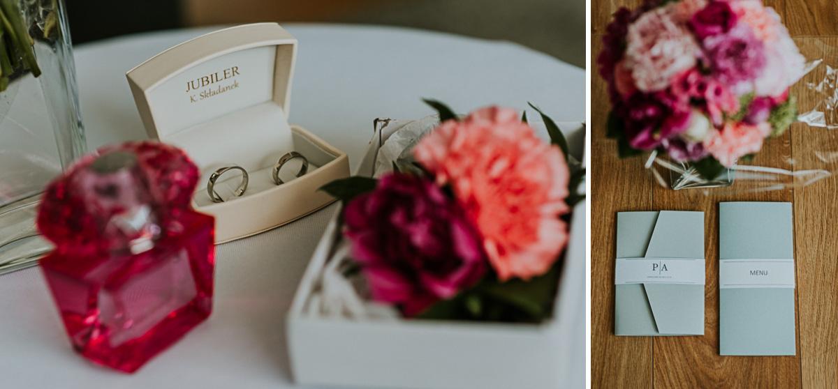 Obrączki ślubne i zaproszenia na wesele