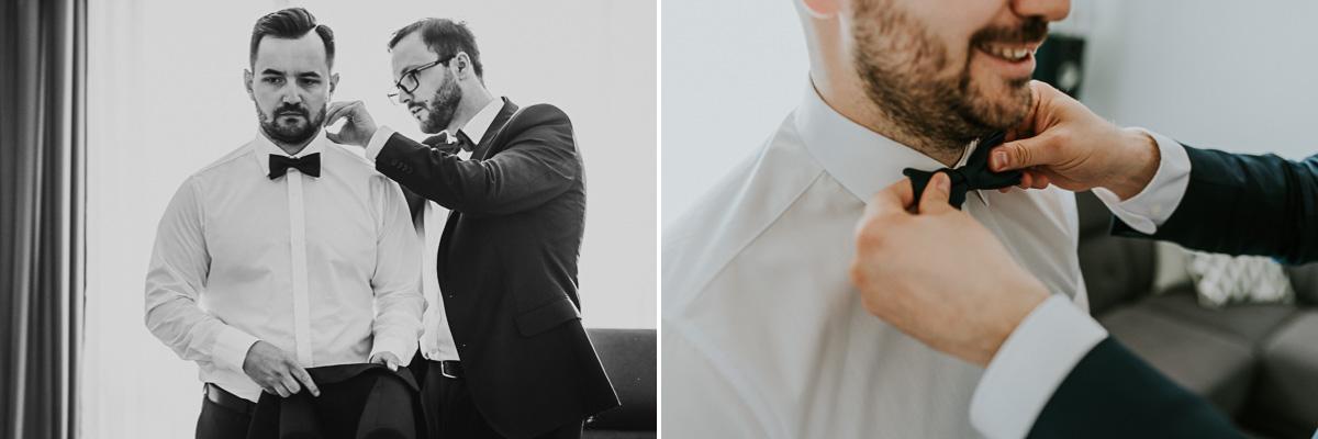 Pan Młody ze świadkiem przygotowujący się do ślubu