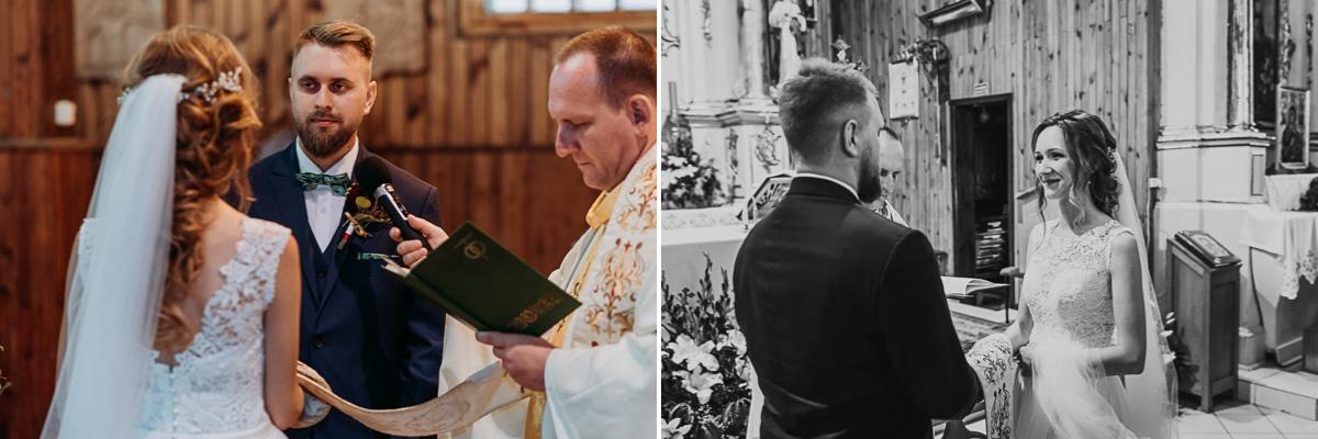 Państwo Młodzi podczas przysięgi w Kościele