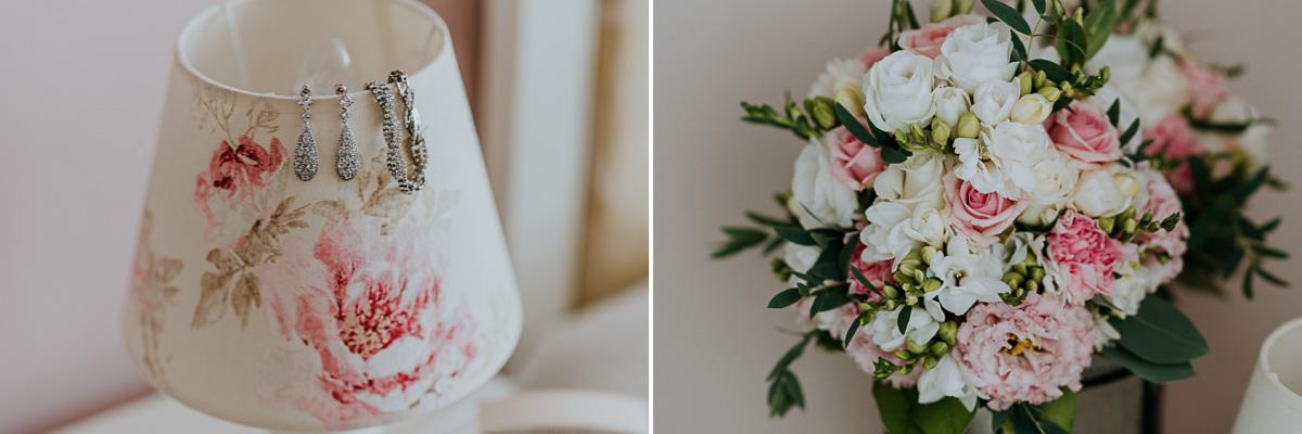 Kolczyki oraz bukiet ślubny