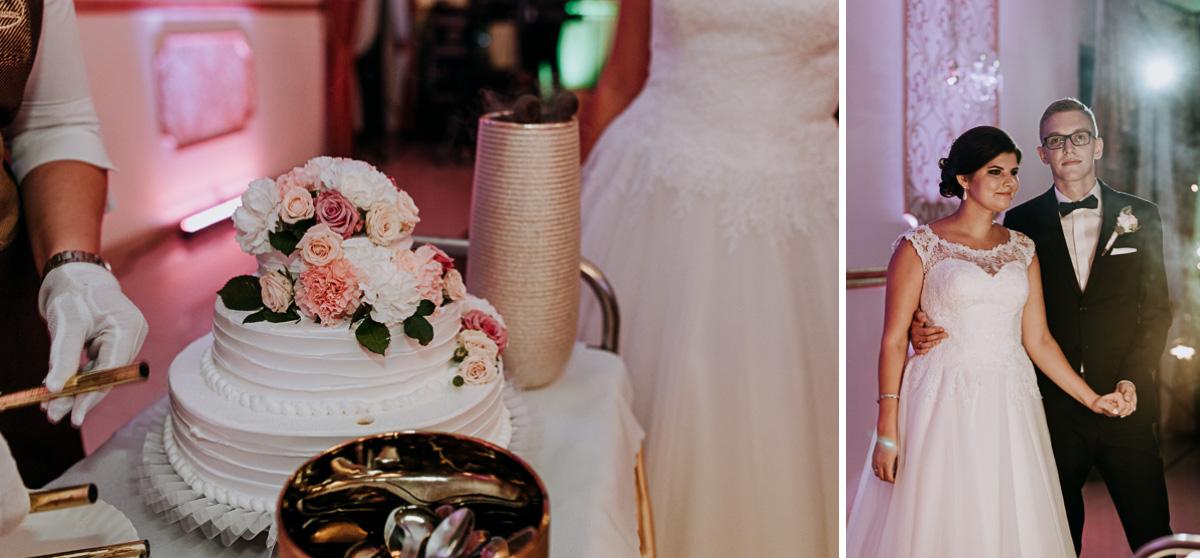 Na zdjęciu znajduje się tort weselny