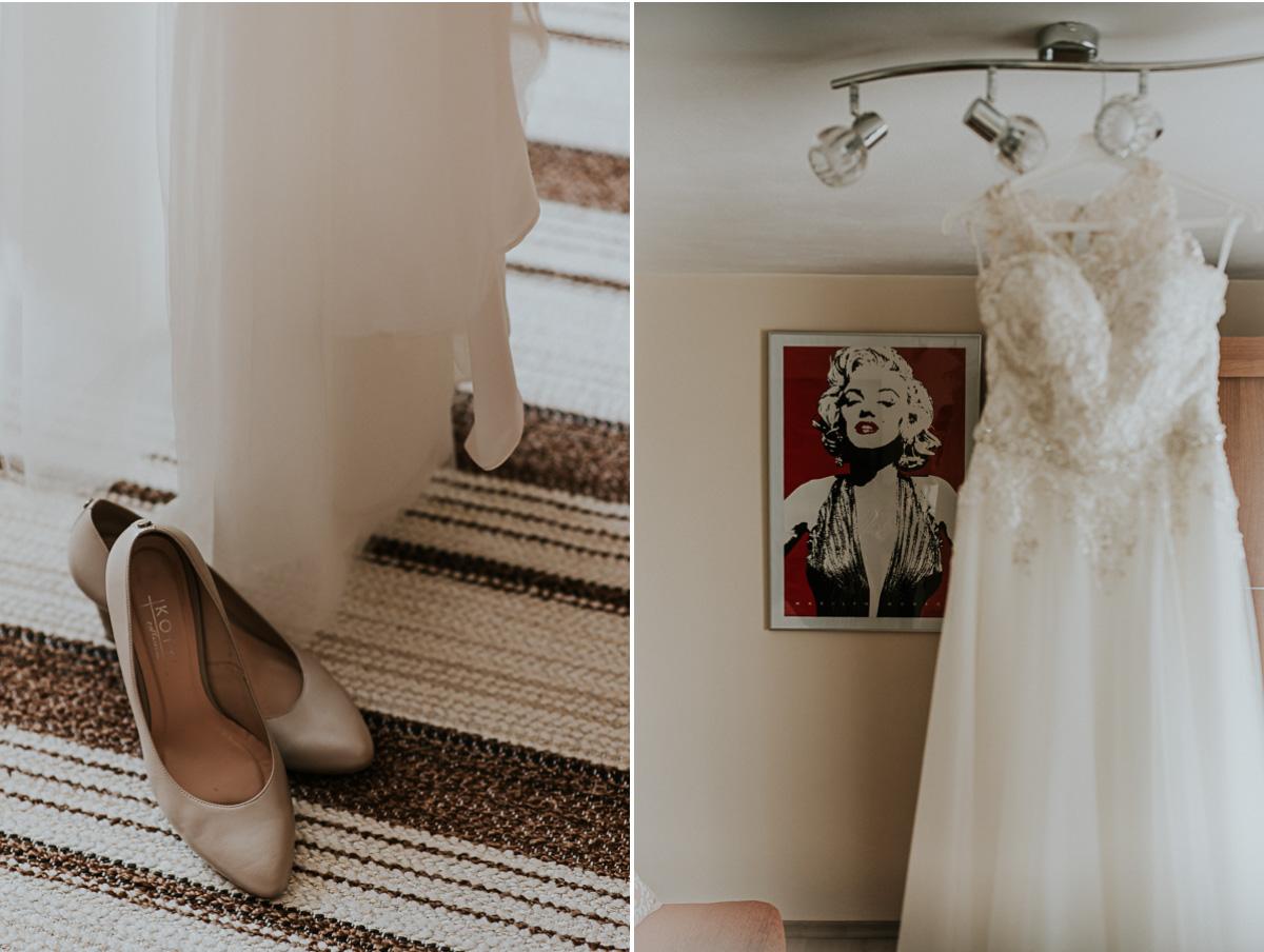 Suknia ślubna i buty ślubne