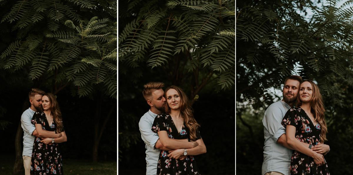 Para narzeczonych podczas sesji narzeczeńskiej podczas pięknym drzewem. Miks trzech zdjęć
