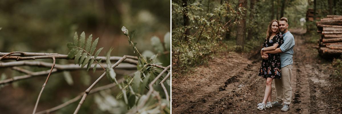 Para narzeczonych podczas sesji narzeczeńskiej w lesie